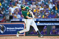 Mack Mueller (50) of the Baylor Bears at bat against the LSU Tigers in game five of the 2020 Shriners Hospitals for Children College Classic at Minute Maid Park on February 28, 2020 in Houston, Texas. The Bears defeated the Tigers 6-4. (Brian Westerholt/Four Seam Images)