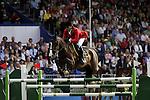 August 07, 2009: Laura Kraut (USA) aboard Cedric clear the 11th fence. Meydan FEI Nations Cup. Failte Ireland Horse Show. The RDS, Dublin, Ireland.