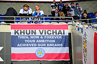 Leicester City fans hang a flag in honour of the late Leicester City owner Vichai Srivaddhanaprabha in the stands prior the Premier League match between Cardiff City and Leicester City at Cardiff City Stadium in Cardiff, Wales, UK. Saturday 3rd November 2018