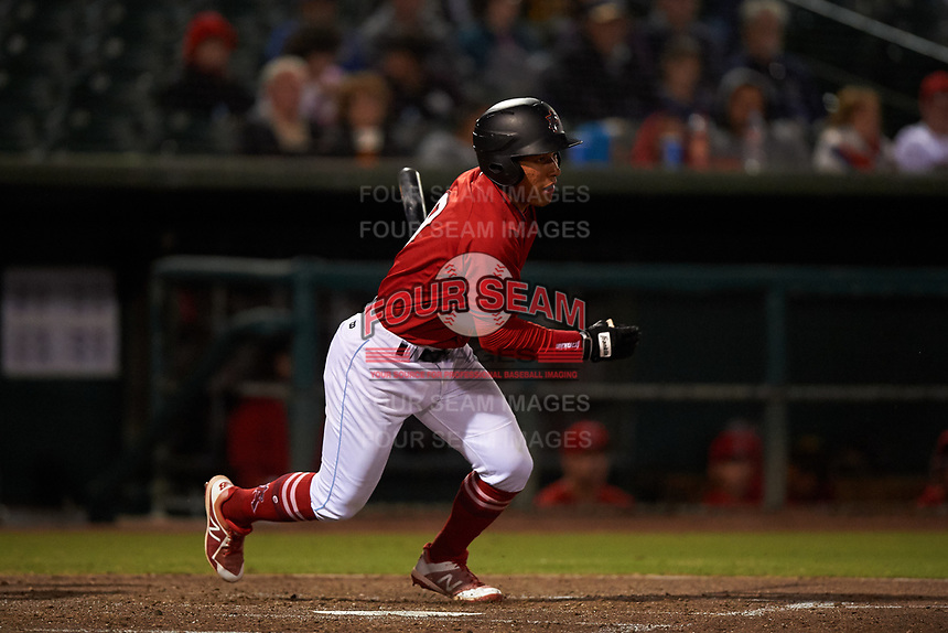 Inland Empire 66ers second baseman Jahmai Jones (8) starts down the first base line during a California League game against the Lancaster JetHawks at San Manuel Stadium on May 18, 2018 in San Bernardino, California. Lancaster defeated Inland Empire 5-3. (Zachary Lucy/Four Seam Images)