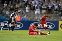MELBOURNE, AUSTRALIA - OCTOBER 30: Cassioof United stretches his leg during the round 12 A-League match between the Melbourne Victory and Adelaide United at Etihad Stadium on October 30, 2010 in Melbourne, Australia.  (Photo by Sydney Low / Asterisk Images)