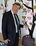 © Joel Goodman - 07973 332324 - all rights reserved . 17/07/2015 . Manchester , UK . JOHN WHITTINGDALE OBE , MP for Maldon and Secretary of State for Culture Media and Sport , pointing to a photograph of Chancellor George Osborne at a wall of visitors' messages during a visit to the newly extended and refurbished Whitworth Art Gallery , in Manchester . The venue has been  nominated for this year's (2015) Riba Stirling Prize for the UK's best new building . Photo credit: Joel Goodman