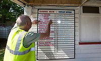 Teams are marked for spectators viewing pre match during the UHLSport Hellenic Premier League match between Flackwell Heath v Tuffley Rovers at Wilks Park, Flackwell Heath, England on 20 April 2019. Photo by Andy Rowland.