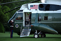 """United States President Donald J. Trump speaks before stepping off Marine One at the White House in Washington, D.C., U.S., as he arrives from the Kennedy Space Center in Florida on Saturday, May 30, 2020.  Trump vowed his administration would end what he called """"mob violence"""" in U.S. cities following the death of an unarmed black man at the hands of Minnesota police, blaming leftist groups for clashes with police and property damage around the nation. <br /> Credit: Stefani Reynolds / Pool via CNP/AdMedia"""