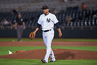 Scottsdale Scorpions starting pitcher Justus Sheffield (34), of the New York Yankees organization, during an Arizona Fall League game against the Mesa Solar Sox on October 23, 2017 at Scottsdale Stadium in Scottsdale, Arizona. The Solar Sox defeated the Scorpions 5-2. (Zachary Lucy/Four Seam Images)