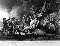 The Death of General Montgomery at Quebec.  1775. Copy of engraving by W. Ketterlinus after John Trumbull, published 1808.  (George Washington Bicentennial Commision)<br /> Exact Date Shot Unknown<br /> NARA FILE #:  148-GW-459<br /> WAR & CONFLICT #:  17