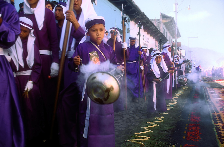 The holy week processions through the streets of the colonial city of Antigua, Guatemala, are the largest Semana Santa events in Latin America. Photograph by Peter E. Randall