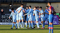 Burnley players congratulate Mitchell George (No 9) after scoring their opening goal during Crystal Palace Under-23 vs Burnley Under-23, Premier League Cup Football at Champion Hill Stadium on 6th February 2020