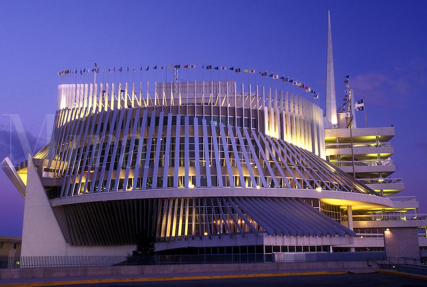 AJ0801, Canada, Quebec, Montreal, casino, Casino de Montreal in the evening in Montreal.