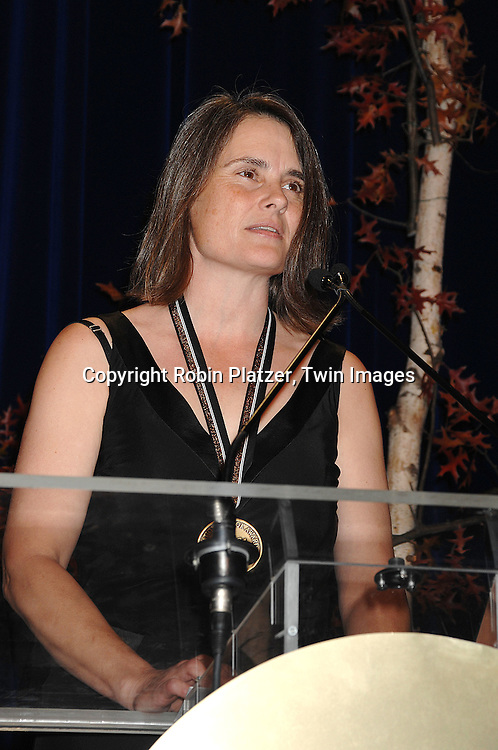 """Cindy Johnson, accepting Fiction award from National Book Awards for her husband Denis Johnson who wrote """"Tree of Smoke"""" ..at The National Book Awards on November 14, 2007 at ..the Marriott Marquis Hotel in New York, The event was hosted by Fran Lebowitz...Robin Platzer, Twin Images......"""