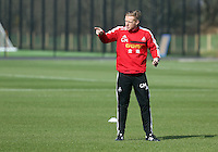 Pictured: Manager Garry Monk. Saturday 08 March 2014<br /> Re: Swansea City FC training at the Fairwood Training ground in the outskirts of Swansea, south Wales.