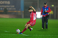 Wyn Jones of Scarlets kicks a penalty during the European Rugby Challenge Cup Round 5 match between the Scarlets and RC Toulon at the Parc Y Scarlets in Llanelli, Wales, UK. Saturday January 11 2020