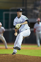 Pulaski Yankees relief pitcher Bryan Blanton (22) in action against the Greeneville Reds at Calfee Park on June 23, 2018 in Pulaski, Virginia. The Reds defeated the Yankees 6-5.  (Brian Westerholt/Four Seam Images)
