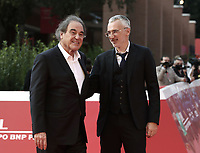 """US director Oliver Stone (L) and Ukrainian filmmaker Igor Lopatonok (R) pose on the red carpet for the movie """"Qazaq: History of the Golden Man"""", at the 16th edition of the Rome Film Fest in Rome, on October 20, 2021.<br /> UPDATE IMAGES PRESS/Isabella Bonotto"""