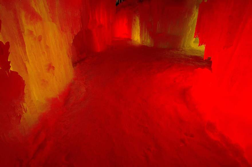 Frozen corridors, backlit by ever changing colored lights, lead to numerous chambers inside the Ice Castle at Loon Mountain.