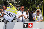 Francois Bayrou Mayor of Pau starts Stage 13 of the 2019 Tour de France an individual time trial running 27.2km from Pau to Pau, France. 19th July 2019.<br /> Picture: ASO/Olivier Chabe | Cyclefile<br /> All photos usage must carry mandatory copyright credit (© Cyclefile | ASO/Olivier Chabe)