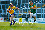 Sean Collins, Clare, in action against Killian Spillane, Kerry, during the Munster Football Championship game between Kerry and Clare at Fitzgerald Stadium, Killarney on Saturday.