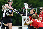 GER - Hannover, Germany, May 30: During the Women Lacrosse Playoffs 2015 match between SCC Blax Berlin (red) and KIT SC Karlsruhe (black) on May 30, 2015 at Deutscher Hockey-Club Hannover e.V. in Hannover, Germany. Final score 17:7. (Photo by Dirk Markgraf / www.265-images.com) *** Local caption *** Elisabeth Vielhaber #34 of KIT SC Karlsruhe, Franziska Luhn #2 of SCC Blax