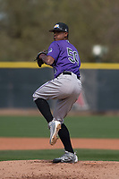 Colorado Rockies relief pitcher Erick Julio (50) during a Minor League Spring Training game against the Los Angeles Angels at Tempe Diablo Stadium Complex on March 18, 2018 in Tempe, Arizona. (Zachary Lucy/Four Seam Images)