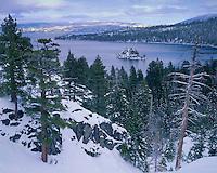 Winter sunrise color over Lake Tahoe; Lake Tahoe, CA