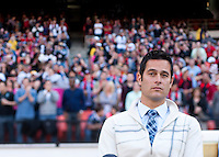 New York Red Bulls head coach Mike Petke watches his team before the game at RFK Stadium in Washington, DC.  New York Red Bulls defeated D.C. United, 2-0.