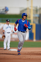 South Bend Cubs catcher Miguel Amaya (9) runs the bases during the first game of a doubleheader against the Lake County Captains on May 16, 2018 at Classic Park in Eastlake, Ohio.  South Bend defeated Lake County 6-4 in twelve innings.  (Mike Janes/Four Seam Images)