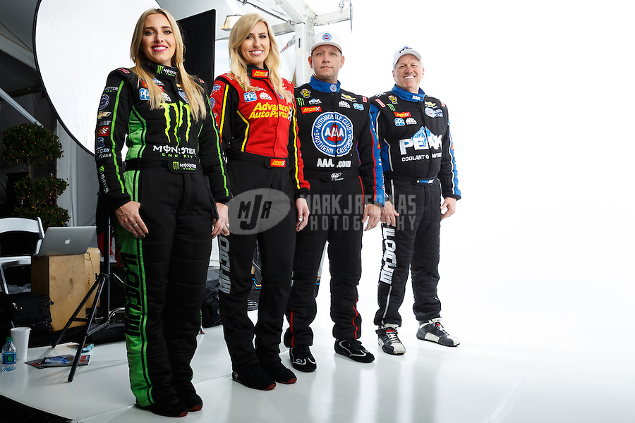 Feb 8, 2017; Pomona, CA, USA; (From left) NHRA drivers Brittany Force , Courtney Force , Robert Hight and John Force pose for a portrait during media day at Auto Club Raceway at Pomona. Mandatory Credit: Mark J. Rebilas-USA TODAY Sports