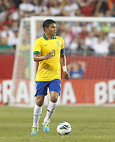 Brazil defender Thiago Silva (3) looks to pass. In an international friendly, Brazil (yellow/blue) defeated Portugal (red), 3-1, at Gillette Stadium on September 10, 2013.