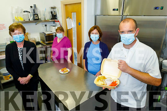 The staff of Ard Chúram Daycare getting their Meals on Wheels ready in Listowel on Monday.<br /> Front: Chef Sid Sheehan. Back l to r: Ann Sheehy, Bridget Long and Mary McElligott.