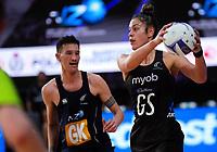 Maia Wilson in action during the Cadbury Netball Series final between NZ Silver Ferns and NZ Men at the Fly Palmy Arena in Palmerston North, New Zealand on Saturday, 24 October 2020. Photo: Dave Lintott / lintottphoto.co.nz