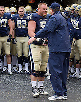 Pitt head coach Paul Chryst and senior offensive lineman Chris Jacobson. The Pitt Panthers defeat the Rutgers Scarlet Knights 27-6 on Saturday, November 24, 2012 at Heinz Field , Pittsburgh, PA.