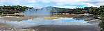"Panoramic image of the steaming ""Champagne Pool"" at the Wai-O-Tapu ""Thermal Wonderland,"" Rotorua, New Zealand"
