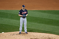 Cleveland Indians Corey Kluber (28) gets ready to deliver a pitch in the third inning during Game 4 of the Major League Baseball World Series against the Chicago Cubs on October 29, 2016 at Wrigley Field in Chicago, Illinois.  (Mike Janes/Four Seam Images)