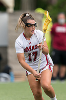 NEWTON, MA - MAY 14: Maddy Moloney #17 of University of Massachusetts during NCAA Division I Women's Lacrosse Tournament first round game between University of Massachusetts and Temple University at Newton Campus Lacrosse Field on May 14, 2021 in Newton, Massachusetts.