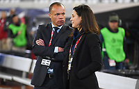JACKSONVILLE, FL - NOVEMBER 10: Earnie Stewart and Kate Markgraf of the United States chat during a game between Costa Rica and USWNT at TIAA Bank Field on November 10, 2019 in Jacksonville, Florida.