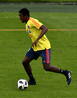 BOGOTA - COLOMBIA, 24–05-2018: Oscar Murillo, jugador de la Seleccion Colombia, durante entrenamiento en el Estadio Nemesio Camacho El Campín, en Bogotá. Colombia se prepara para la próxima la Copa Mundo FIFA 2018 Rusia. / Oscar Murillo, player of the Colombia Team, during training at the Nemesio Camacho El Campin stadium, in Bogotá city. Colombia prepares for the next 2018 FIFA World Cup Russia. Photo: VizzorImage / Luis Ramirez /Staff.