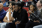 York Knicks' Jose Manuel Calderon (l) and Denver Nuggets Kenneth Faried with his girlfriend during Euroleague Semifinal match. May 15,2015. (ALTERPHOTOS/Acero)