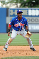 Auburn Doubledays infielder Khayyan Norfork (9) during game against the Staten Island Yankees at Richmond County Bank Ballpark at St.George on August 2, 2012 in Staten Island, NY.  Auburn defeated Staten Island 11-3.  Tomasso DeRosa/Four Seam Images