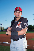 Salem-Keizer Volcanoes outfielder Diego Rincones (19) poses for a photo before a Northwest League game against the Hillsboro Hops at Ron Tonkin Field on September 1, 2018 in Hillsboro, Oregon. The Salem-Keizer Volcanoes defeated the Hillsboro Hops by a score of 3-1. (Zachary Lucy/Four Seam Images)