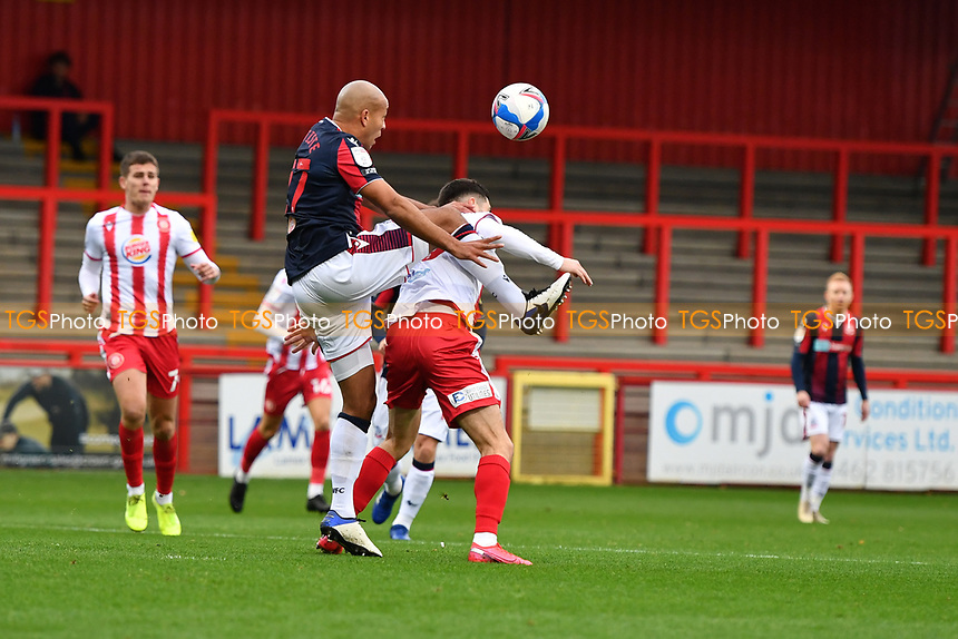 Alex John-Baptiste of Bolton Wanderers F.C. and Tom Pett of Stevenage FC during Stevenage vs Bolton Wanderers, Sky Bet EFL League 2 Football at the Lamex Stadium on 21st November 2020
