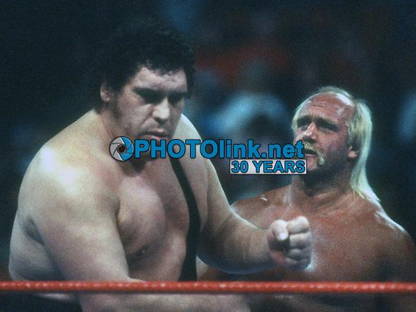 Andre the Giant Hulk Hogan, 1987, Photo By John Barrett/PHOTOlink