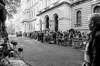 """24.06.2016 - 7:49AM - Journalists at Downing Street.<br /> <br /> London, March-July 2016. Reporting the EU Referendum 2016 (Campaign, result and outcomes) observed through the eyes (and the lenses) of an Italian freelance photojournalist (UK and IFJ Press Cards holder) based in the British Capital with no """"press accreditation"""" and no timetable of the main political parties' events in support of the RemaIN Campaign or the Leave the EU Campaign.<br /> On the 23rd of June 2016 the British people voted in the EU Referendum... (Please find the caption on PDF at the beginning of the Reportage).<br /> <br /> For more photos and information about this event please click here: http://lucaneve.photoshelter.com/gallery/Downing-Street-David-Cameron-Speech-Resignation/G0000YNqp4GfkMfU/C0000LiS.GOfEuNk<br /> <br /> For more information about the result please click here: http://www.bbc.co.uk/news/politics/eu_referendum/results"""