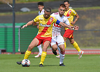 Yannick Cahuzac (18) of Rc Lens and Nicolas Raskin (26) of Standard de Liegepictured during a friendly soccer game between Racing Club De Lens and Standard de Liege  during the preparations for the 2021-2022 season , on wednesday 7 of July 2021 in Billy Montigny , France . PHOTO DIRK VUYLSTEKE   SPORTPIX