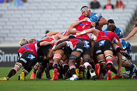 March 14th 2020, Eden Park, Auckland, New Zealand;  Blues scrum in action against the Lions during the Super Rugby match between the Blues and the Lions, held at Eden Park, Auckland, New Zealand.