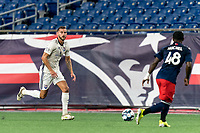 FOXBOROUGH, MA - SEPTEMBER 5: Nick O'Callaghan #2 of Tormenta FC brings the ball forward during a game between Tormenta FC and New England Revolution II at Gillette Stadium on September 5, 2021 in Foxborough, Massachusetts.