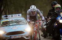 Boy van Poppel (NLD/Trek Factory Racing) up the Kemmelberg<br /> <br /> 77th Gent-Wevelgem 2015