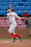 Daniel Lyons #10 of the Potomac Nationals follows through on his swing versus the Winston-Salem Dash at Wake Forest Baseball Stadium May 8, 2009 in Winston-Salem, North Carolina. (Photo by Brian Westerholt / Four Seam Images)