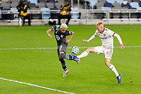 ST PAUL, MN - SEPTEMBER 27: Emanuel Reynoso #10 of Minnesota United FC and Justen Glad #15 of Real Salt Lake go for the ball near the goal during a game between Real Salt Lake and Minnesota United FC at Allianz Field on September 27, 2020 in St Paul, Minnesota.