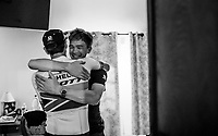 stage winner Daryl Impey (ZAF/Mitchelton-Scott) hugging teammate Christopher Juul-Jensen (DEN/Michelton-Scott) after returning to the team hotel<br /> <br /> Stage 9: Saint-Étienne to Brioude (170km)<br /> 106th Tour de France 2019 (2.UWT)<br /> <br /> ©kramon
