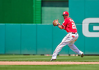 24 May 2015: Washington Nationals shortstop Ian Desmond makes a spinning play for an out during a game against the Philadelphia Phillies at Nationals Park in Washington, DC. The Nationals defeated the Phillies 4-1 to take the rubber game of their 3-game weekend series. Mandatory Credit: Ed Wolfstein Photo *** RAW (NEF) Image File Available ***